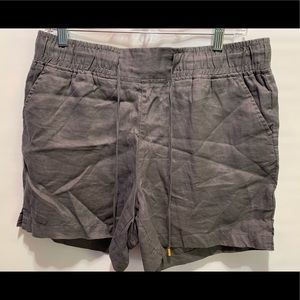 ELLEN TRACY LADIES 100% LINEN GREY SHORTS